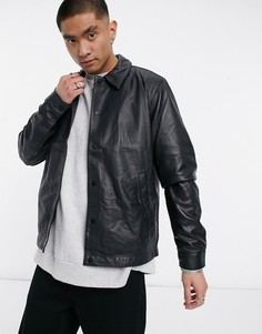 Черная кожаная спортивная куртка ASOS DESIGN-Черный цвет