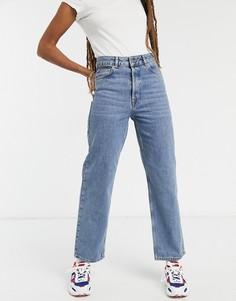 Синие прямые джинсы из органического хлопка с завышенной талией Selected Femme Kate-Голубой