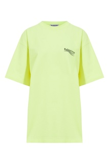 Ярко-желтая футболка с логотипом Balenciaga