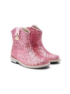 Monnalisa ковбойские ботинки с блестками