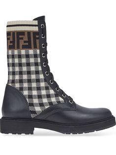 Fendi байкерские ботинки Rockoko с логотипом FF