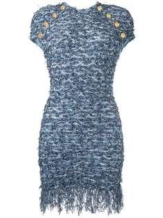 Balmain твидовое платье с бахромой