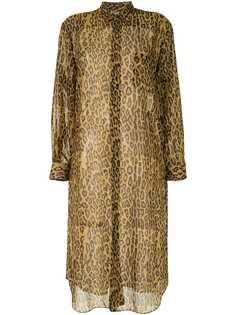 Junya Watanabe полупрозрачное платье-рубашка с леопардовым принтом