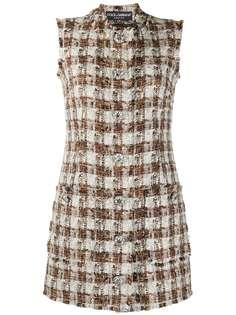 Dolce & Gabbana твидовое платье-трапеция в клетку