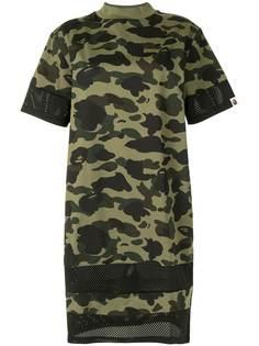 A BATHING APE® платье-футболка с камуфляжным принтом