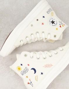 Кремово-белые высокие кеды с вышивкой Converse Chuck Taylor All Star-Белый