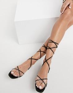 Черные сандалии с завязками Aldo-Черный