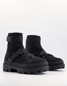 Черные ботинки челси на толстой подошве с ремешками ASOS DESIGN-Черный цвет
