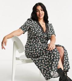 Платье макси с короткими рукавами, кружевной отделкой и цветочным принтом на черном фоне ASOS DESIGN Curve-Черный цвет