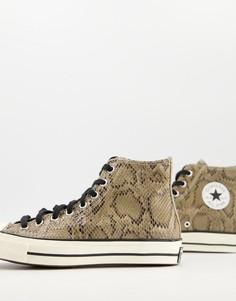 Коричневые кожаные высокие кроссовки с рисунком под кожу рептилии Converse Chuck 70 Hi Archive Reptile-Коричневый цвет