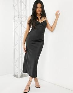 Черное атласное платье макси Parallel Lines-Черный цвет