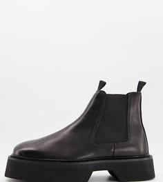Черные блестящие кожаные ботинки челси с квадратным носком ASOS DESIGN Wide Fit-Черный цвет