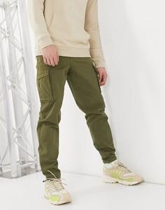 Брюки карго цвета хаки с манжетами внизу Selected Homme-Зеленый цвет