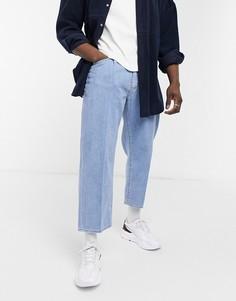 Темные свободные джинсы до щиколотки с защипами Levis stay-Голубой