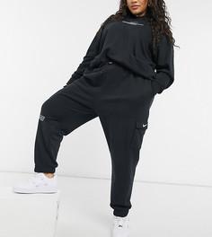 Черные флисовые джоггеры Nike Swoosh Plus-Черный цвет