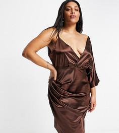 Шоколадно-коричневое атласное платье мидакси с запахом Jaded Rose Plus-Коричневый цвет