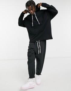 Oversized-худи черного цвета с карманом и шнурком по нижнему краю ASOS DESIGN-Черный цвет