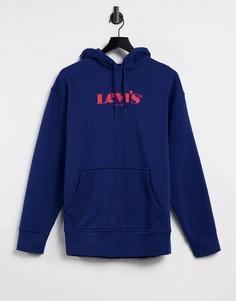 Темно-синий свободный худи с большим логотипом Levis Modern Vintage