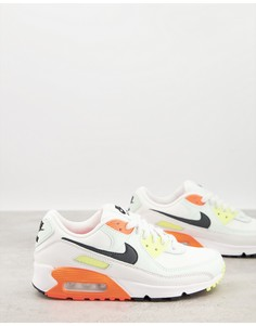 Кремовые кроссовки с оранжевыми вставками Nike Air Max 90-Оранжевый цвет