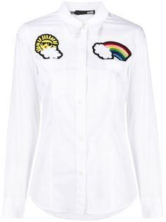 Love Moschino рубашка на пуговицах с нашивками