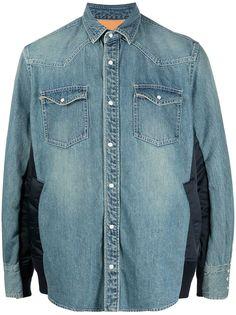 Sacai джинсовая рубашка с контрастными вставками