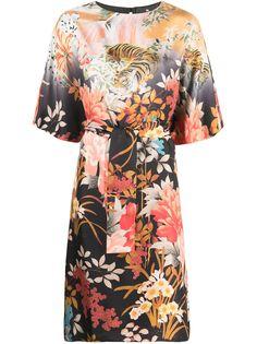 Etro платье-кимоно с цветочным принтом