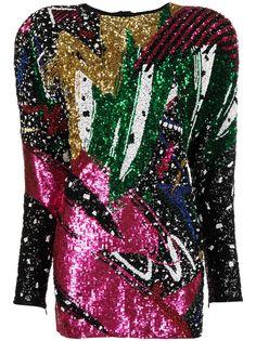 Balmain платье с пайетками и объемными плечами