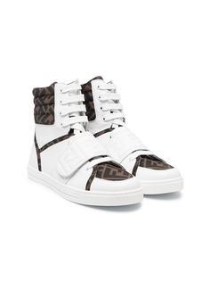 Fendi Kids высокие кроссовки с логотипом FF