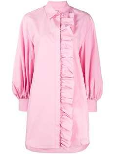 MSGM платье-рубашка с длинными рукавами и оборками
