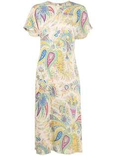 Etro платье миди с короткими рукавами и принтом пейсли