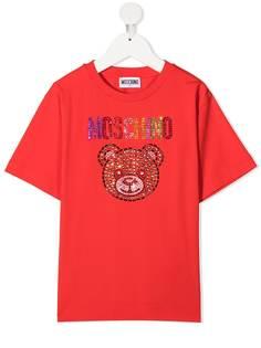 Moschino Kids футболка с круглым вырезом и логотипом со стразами
