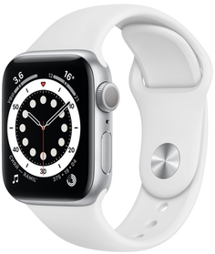 Смарт-часы Apple Watch S6 40mm Silver Aluminum Case with White Sport Band (MG283RU/A)