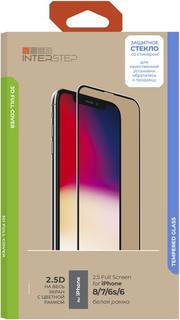 Защитное стекло с рамкой 3D InterStep Full Cover iPhone 8/7/6s/6, белая рамка (IS-TG-IPHO00678-03IFWH-ELBTUA3)