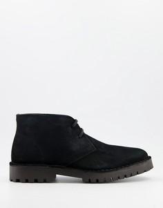 Черные ботинки чукка на массивной подошве Selected Homme-Черный цвет