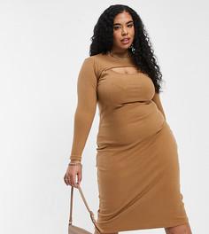 Облегающее платье миди в рубчик с высокой горловиной и вырезами Fashion Union Plus-Коричневый цвет