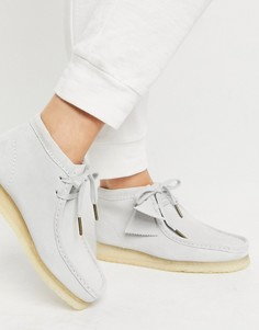 Серо-голубые замшевые ботинки на плоской подошве Clarks Originals Wallabee-Серый