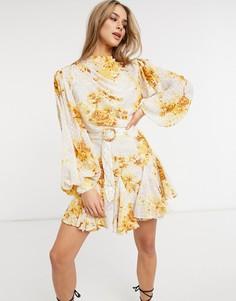 Плиссированное жаккардовое платье мини с высоким воротом, цветочным принтом, плетеным поясом и отделкой в стиле годе ASOS DESIGN-Многоцветный