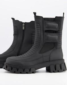 Черные байкерские ботинки на массивной подошве из искусственных материалов Koi Footwear-Черный цвет