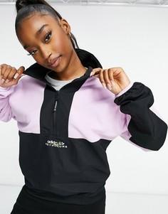 Флисовая куртка в стиле колор блок с короткой молнией adidas Originals Adventure-Фиолетовый цвет