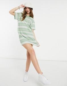 Зелено-белое платье-футболка в полоску с логотипом Quiksilver-Белый