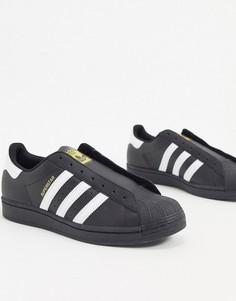 Черные кроссовки без шнурков adidas Originals Superstar-Черный
