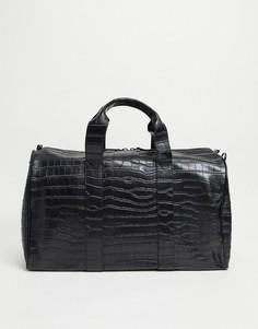 Черная спортивная сумка с эффектом крокодиловой кожи Smith & Canova-Черный цвет