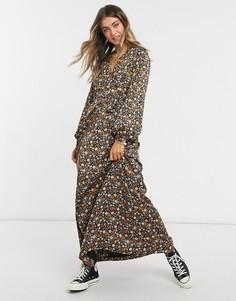 Платье макси с запахом и ярким цветочным принтом Maison Scotch-Многоцветный