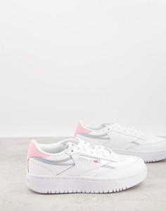 Белые кроссовки с цветными вставками Reebok Club C Double-Белый