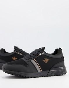 Черные кроссовки с вышивкой River Island-Черный цвет
