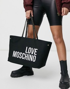 Блестящая парусиновая сумка-тоут черного цвета Love Moschino-Красный