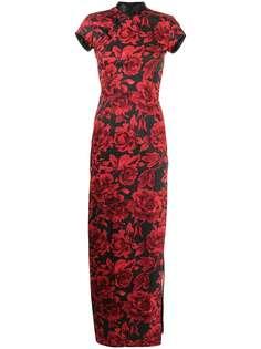 Shanghai Tang платье макси с цветочным принтом