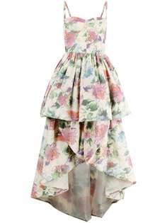 Pinko ярусное вечернее платье с цветочным принтом