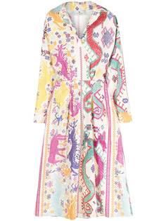 Etro платье миди с анималистичным узором