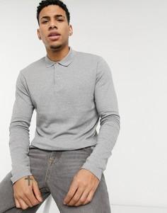 Серая трикотажная футболка-поло с длинными рукавами Selected Homme-Серый